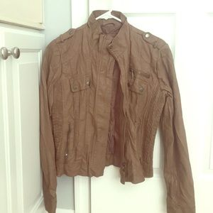 Faux brown leather jacket